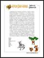 Safari Animals Word Search