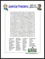 American Presidents Word Search