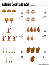 fall/autumn Preschool and kindergarten math worksheet