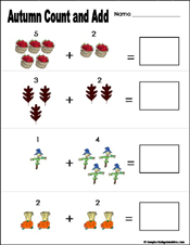 math worksheet : preschool and kindergarten fall math worksheets : Kindergarten Math Printable Worksheet