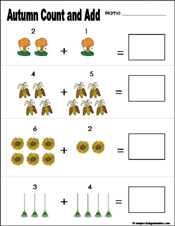 math worksheet : preschool and kindergarten fall math worksheets : Kindergarten Addition Worksheet
