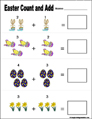 Preschool and kindergarten Easter math worksheet