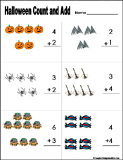 preschool and kindergarten halloween math worksheets. Black Bedroom Furniture Sets. Home Design Ideas