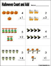Preschool and Kindergarten Halloween Math WorksheetsPreschool and kindergarten halloween math worksheet