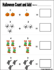 Preschool and Kindergarten Halloween Math Worksheets