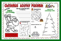 Printable Christmas Placemat - preschool/kindergarten
