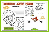 Printable Thanksgiving Placemat - preschool/kindergarten