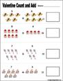 Preschool and kindergarten valentine math worksheet