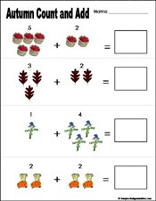 math worksheet : preschool and kindergarten fall math worksheets : Easy Math Addition Worksheets