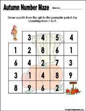Preschool and Kindergarten Fall Math Worksheets
