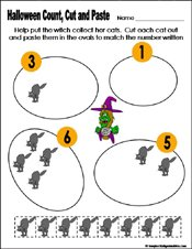 Preschool and kindergarten halloween math worksheet