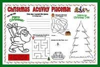Printable Christmas Placemat - preschool/kindergarten